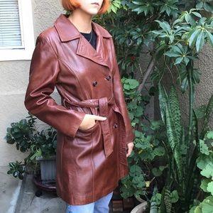 Vintage reddish brown leather coat